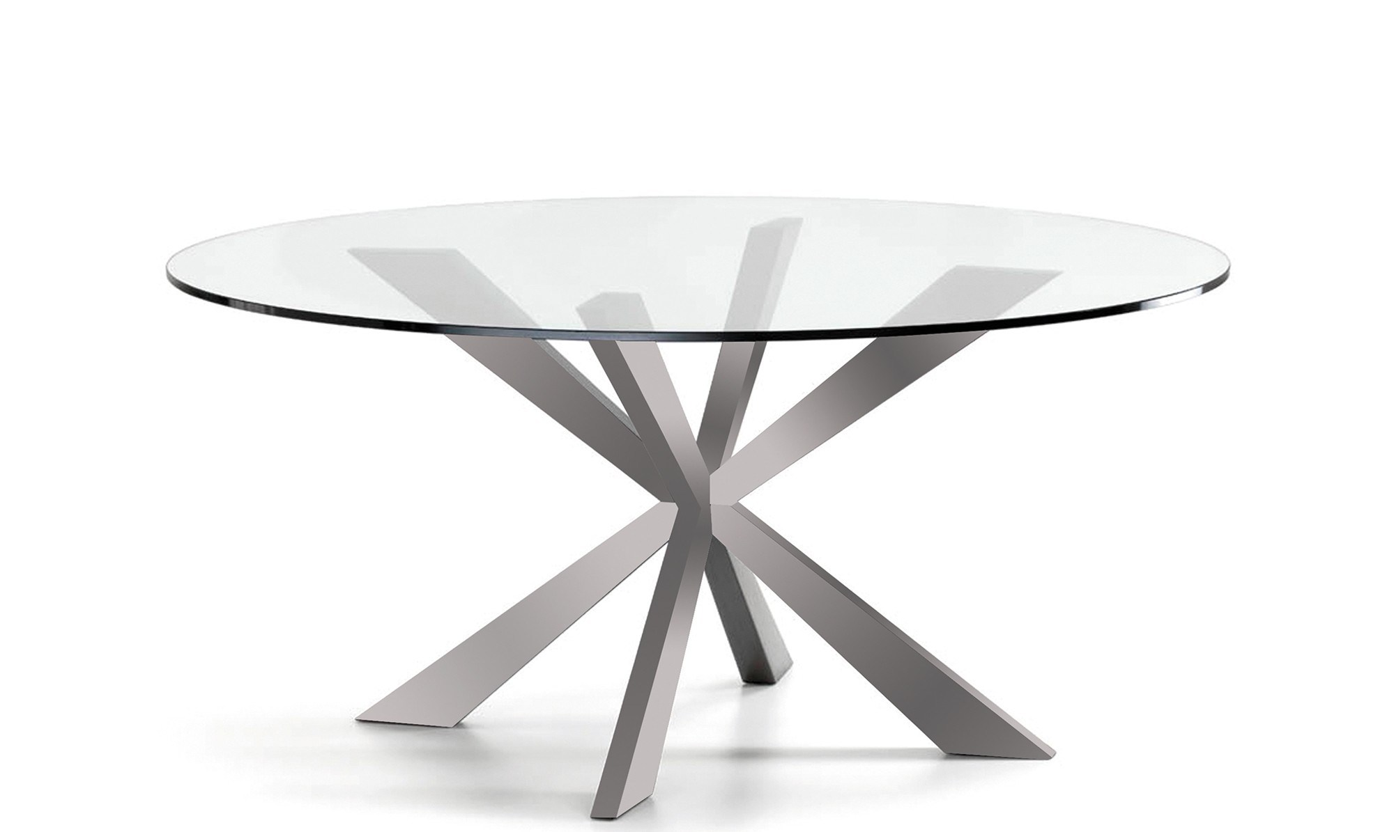 Modern Round Stainless Steel Metal Glass Dining Table With Cross Legs