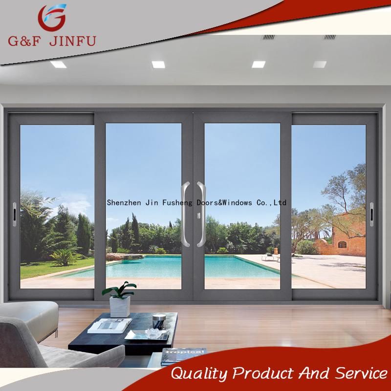 China Modern Design Soundproof Aluminum Double Glass Sliding Door