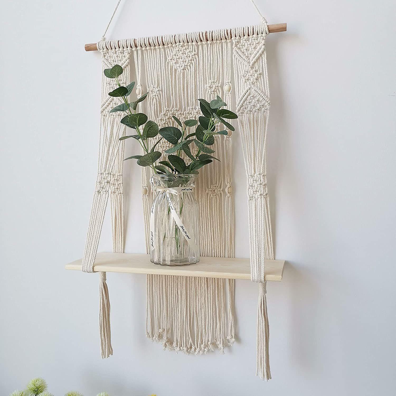 Macrame Wall Hanging Shelf Floating Planter Holder Organizer Boho Home Decor