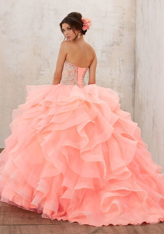 cb17ab545ff China Organza Ball Gowns Coral Tulle Crystal Quinceanera Dress Z7017 ...