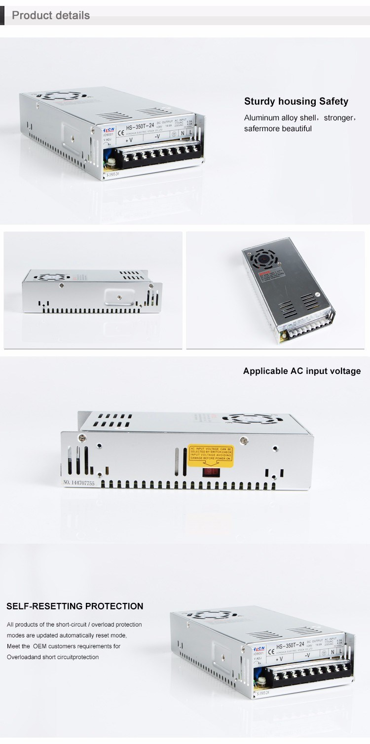 HS-350T Ce RoHS Single Output Switching Power Supply 350W Output 5V/7.5V/12V/13.5V/15V/24V/27V/48V pictures & photos