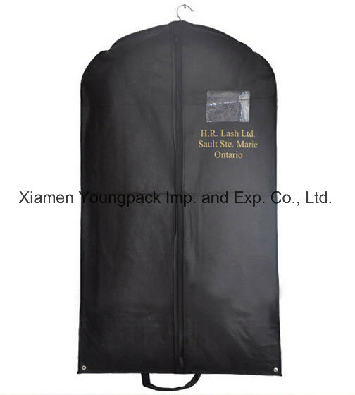 Wholesale Custom Printed Mens Black TNT Clothes Dust Cover Promotional Non-Woven Travel Suit Garment Covers