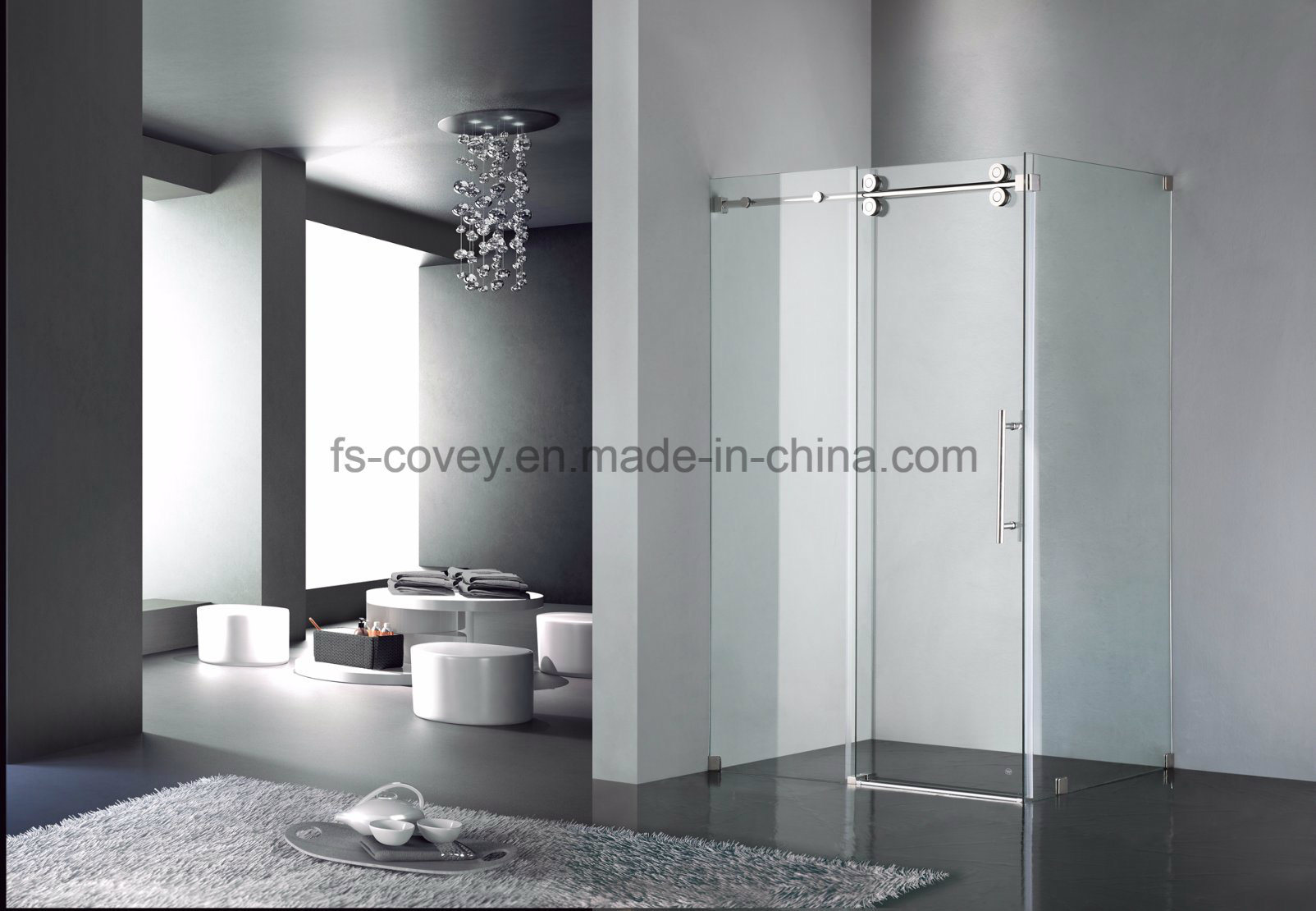 China Sliding Shower Door With Double Side Easy Clean Tempered Glass