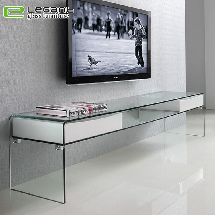 China Contemporary Clear Glass Tv Stand, Glass Tv Console