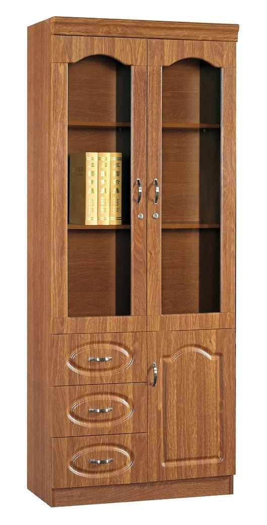 China Melamine Bookcase with Aluminum Frame PVC Finish 2 Door 3 Door