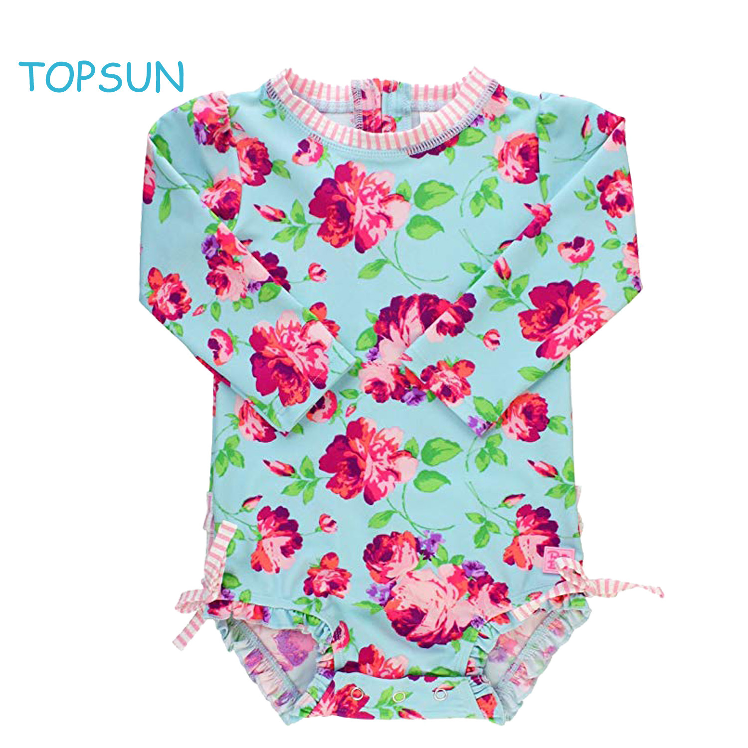 3bdfdb46f1 Baby/Toddler Girls Upf 50+ Sun Protection Long Sleeve One Piece Summer  Clothing with Zipper Butterfly Lace Printed Swimsuit