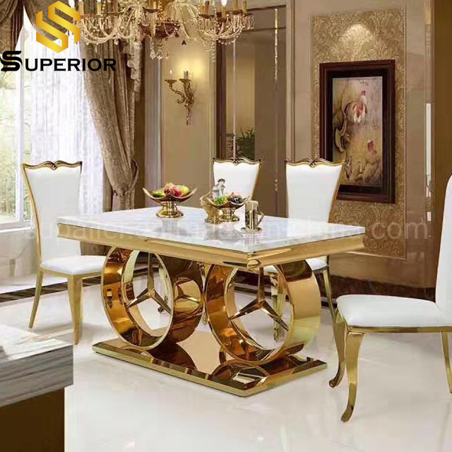 China Modern Luxury Marble Gold Stainless Steel Base Dining Tables China Home Furniture Table Metal Frame Table