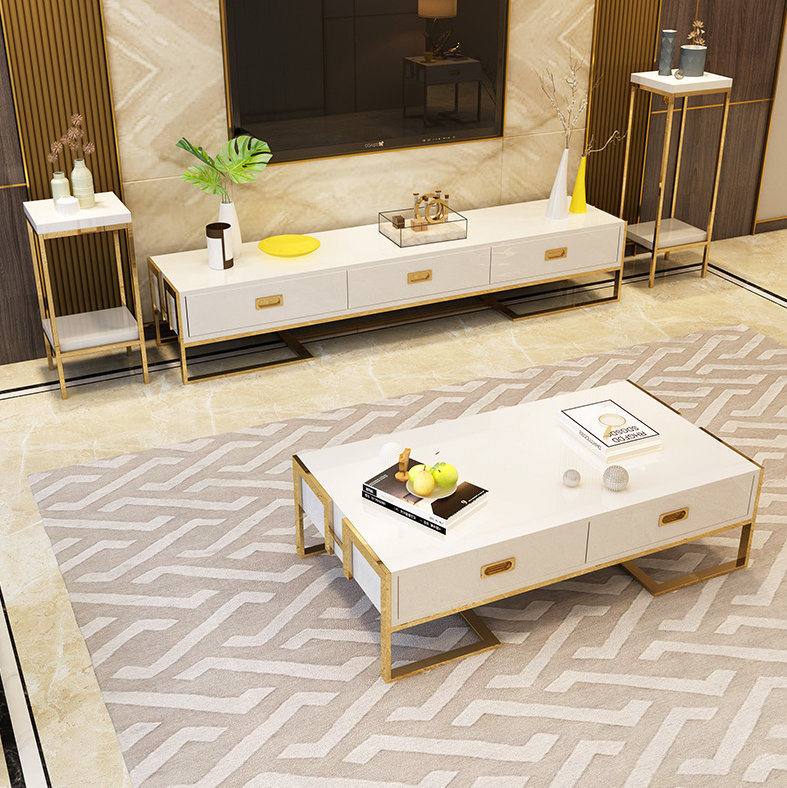 [Hot Item] White Color Modern Living Room Furniture Center Table (976)