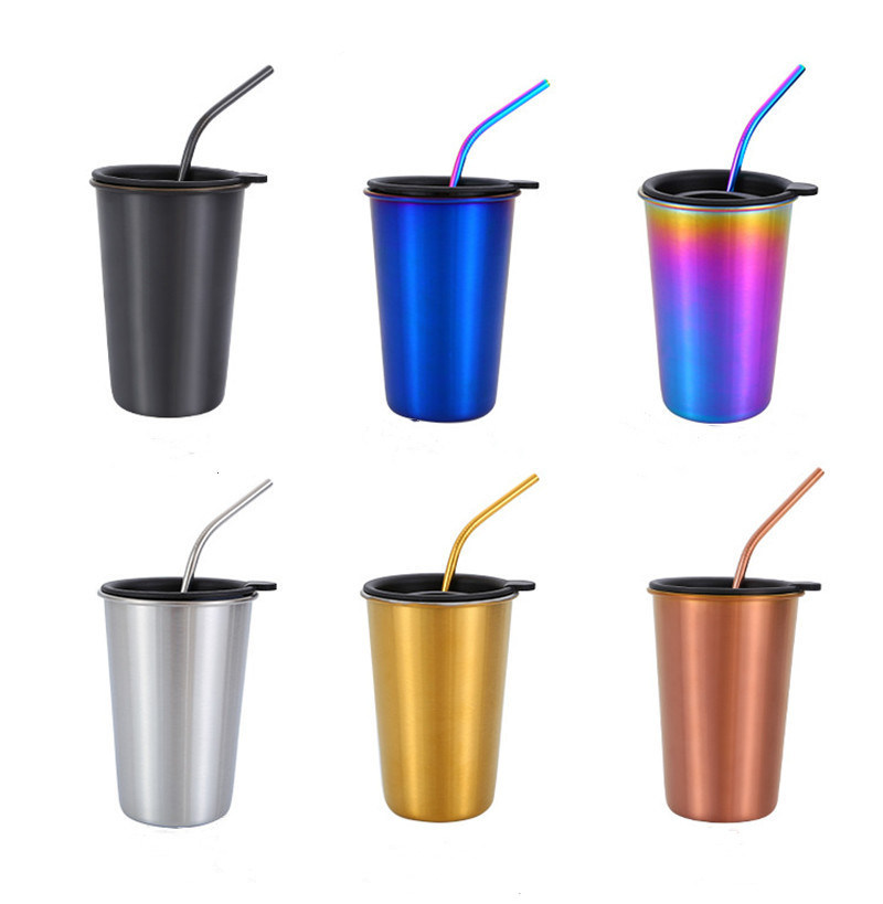 b11987d449e [Hot Item] Cool Drink Tumbler European Style Stainless Steel Outdoor Beer  Cup with Straw
