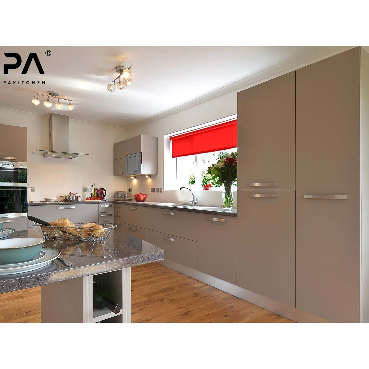 China Factory Prefab Cheap Price Modular Contemporary Kitchen Pantry Cupboard With Island Pvc Grey Kitchen Cabinet Photos Pictures Made In China Com