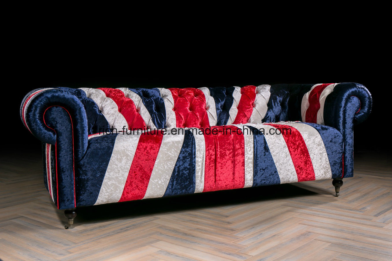 Picture of: China Vintage Elegant Style Union Jack Fabric Sofa For Living Room China Chesterfield Sofa Vintage Leather Sofa