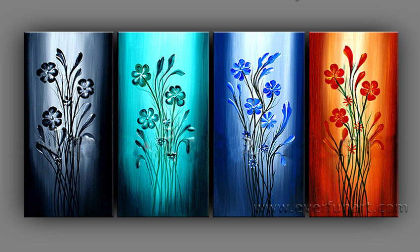 Abstract Flower Group Oil Painting
