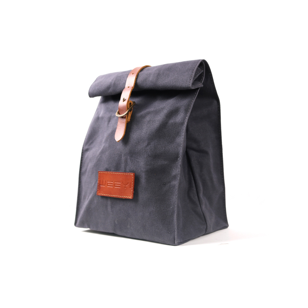China Custom Personalized Waxed Canvas Men Office Lunch Bag With Leather Trim