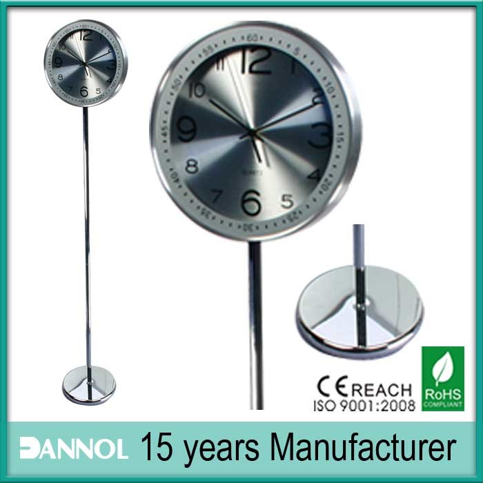 China Aluminum Dial Silkscreen Lens Quartz Metal Floor Clock