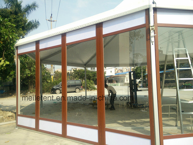 High-Class Hotel Marquee Glass Tent with Wood Grain Colored Frame pictures & photos