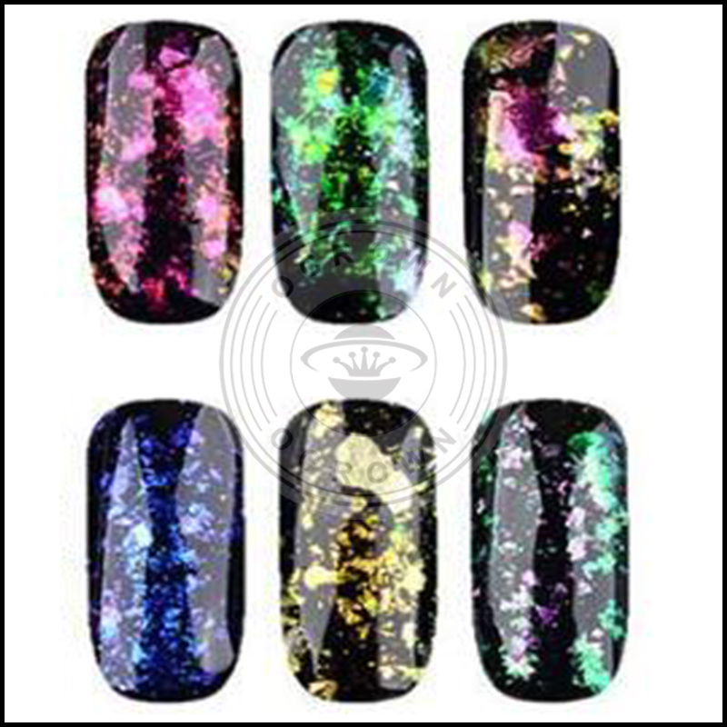 China Galaxy Acrylic Foil Nails Decoration Sequins Chameleon Flake ...