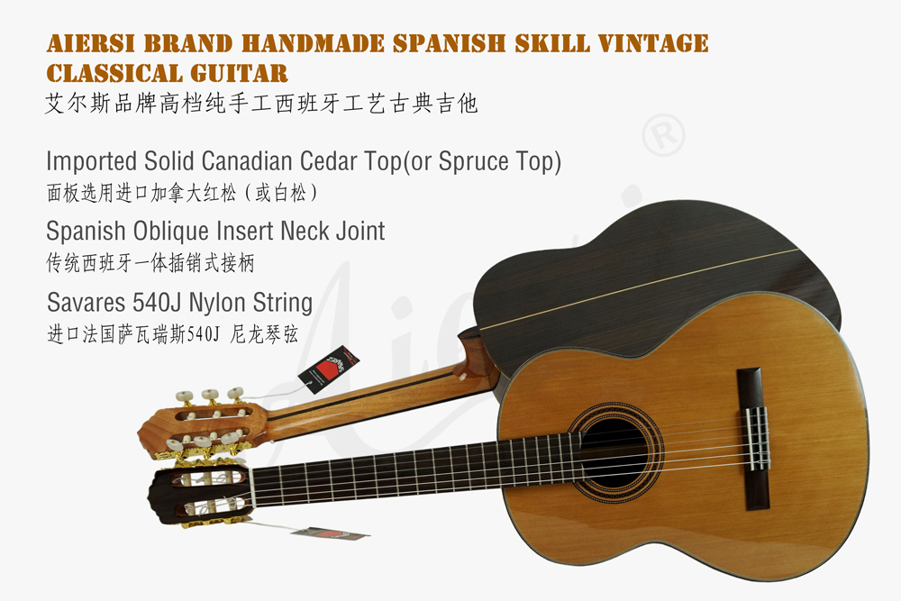 Wholesale Solid Cedar Top Handmade Spanish Classic Guitar for Sale pictures & photos