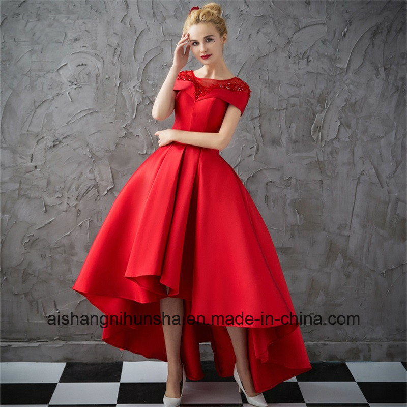 China Women Cap Sleeve Ball Gown Red Satin Evening Prom Dress ...