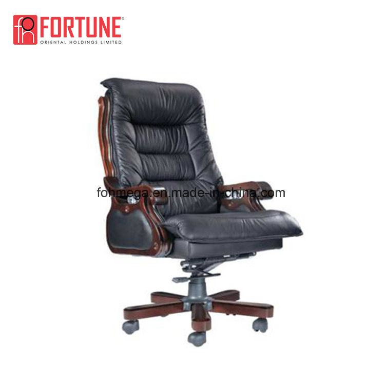 China High Back Black Genuine Leather Reclining Office Chair With Footrest China Reclining Office Chair Genuine Leather Office Chair