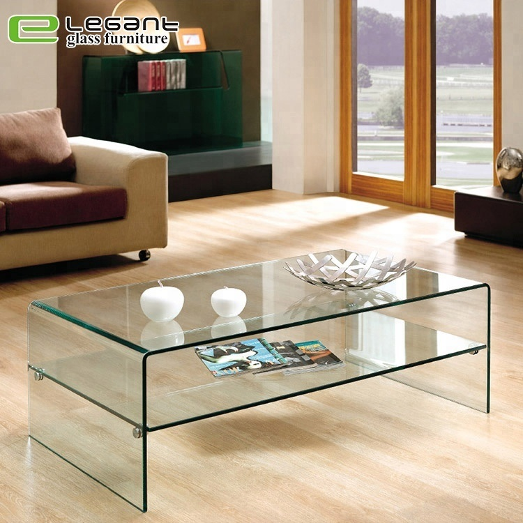China Modern Design Clear Glass Center Table With Tempered Glass Shelf China Coffee Table Glass Coffee Table