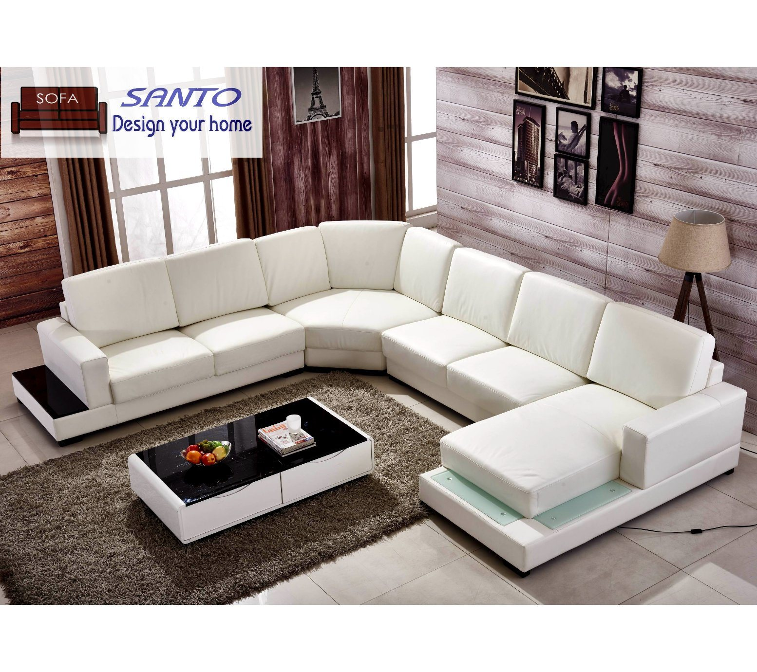 China Luxury European Style Living Room Genuine Leather L ...