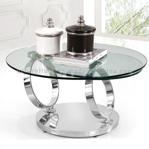 Rotatable Round Stainless Steel Coffee Table With Glass Top