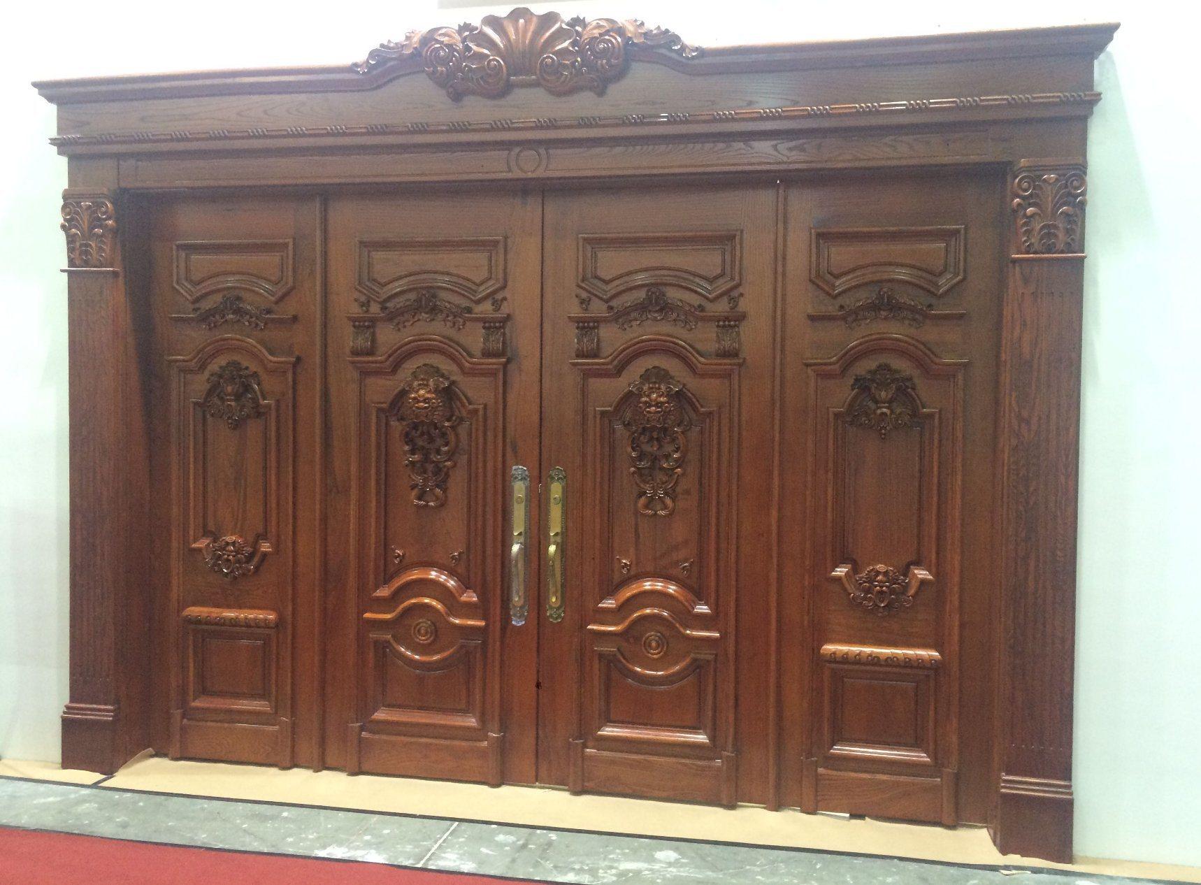 Fancy Wood Door Design Solid Teak Wood Luxury Main Door (XS1 025)
