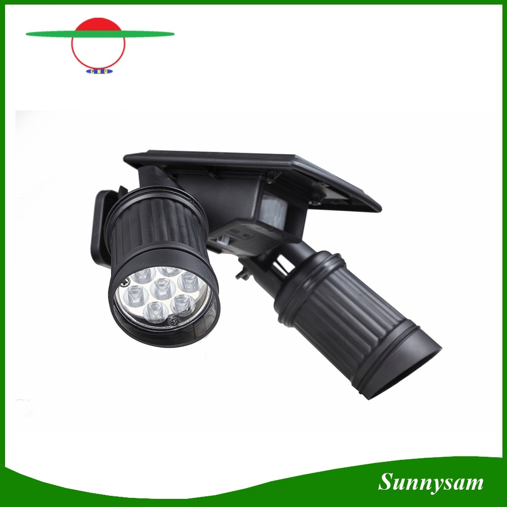 China Dual Light Head 14 Led Solar Pir Sensor Spot No Wiring Wirless Motion Wall Lamp For