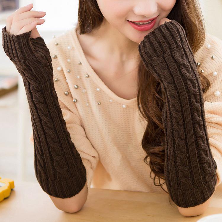 China Fashion Colorful Long Arm Warmers Knitting Pattern Wool Hand
