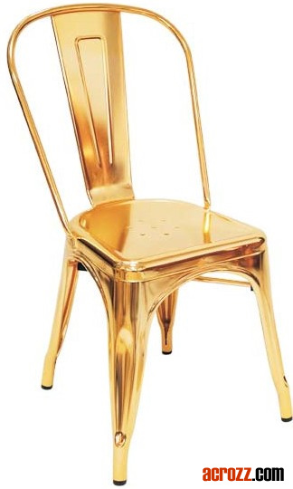 China Steel Banquet Furniture Metal Gold Golden Tolix Chair