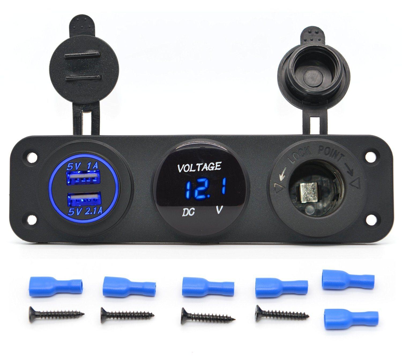 Waterproof Socket Power Outlet Volt Meter Panel Mount Marine 12 //24 V Voltmeter