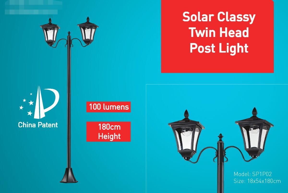 Solar Twin Head Post Light with Motion Sensor
