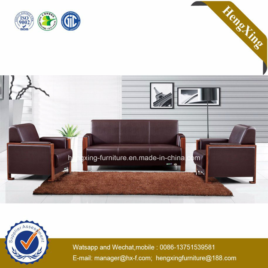 Deep Brown Color Genuine Leather Couch