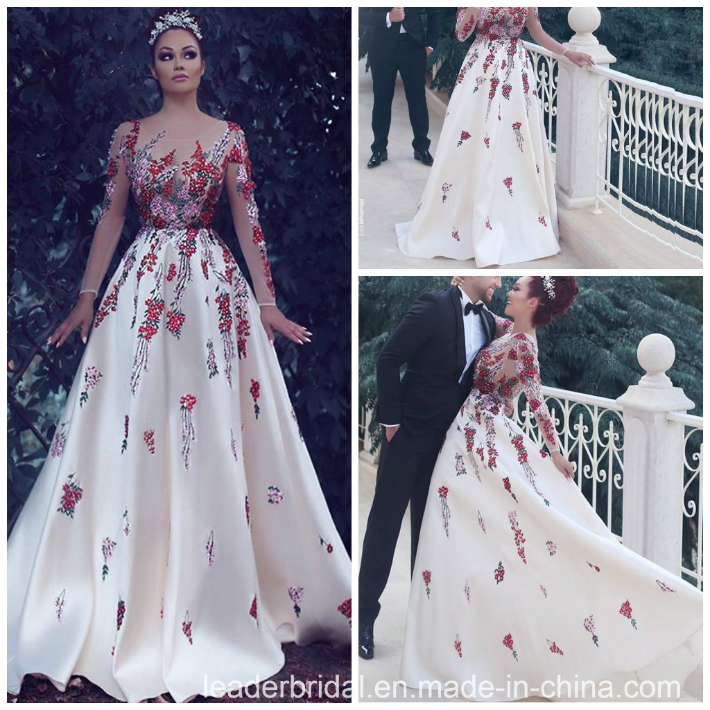 China Flower Embroidery Prom Gowns Arabic Party Evening Dresses