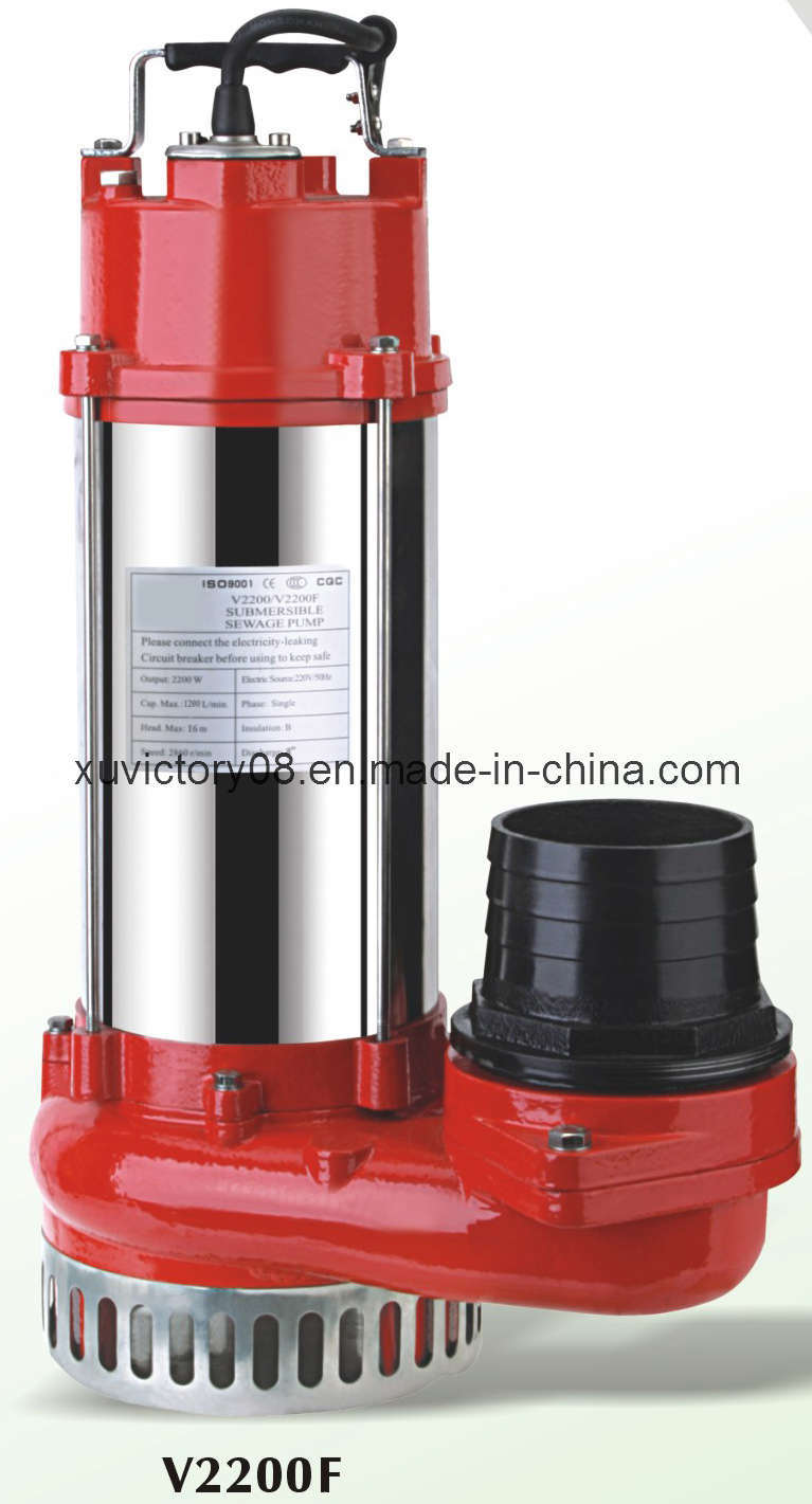 Cast Iron Stainless Steel Submersible Sewage Water Pumps V2200f (WQ30-11-2.2)
