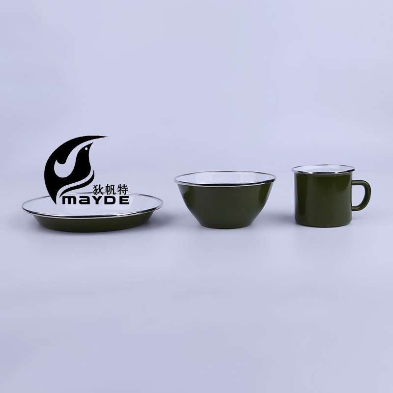 Green Glaze Enamel Camping Tableware with Stainless Steel Rim pictures & photos