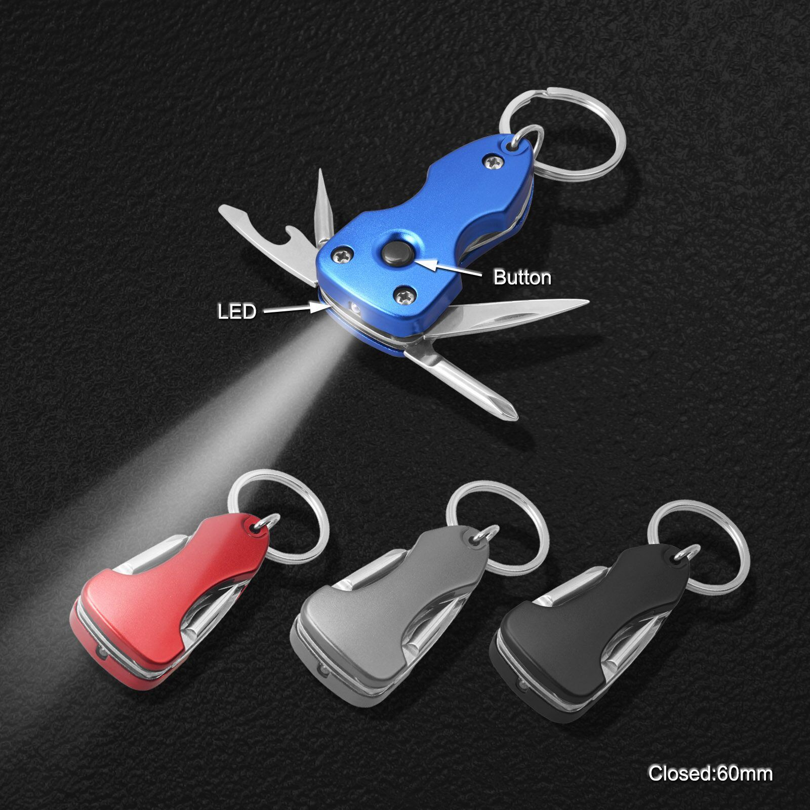 Multi Function Key Chain Tools with LED Torch (#668-LED)