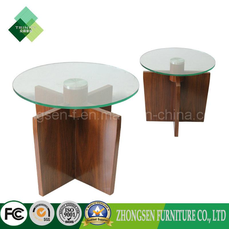 China High Quality Black Walnut Structure Glass Desktop Coffee Table Tea