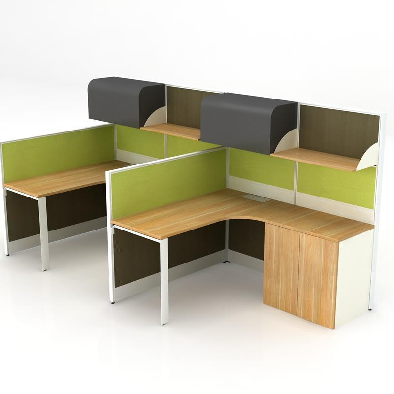 F Shaped 2 Person Office Desk With Folding Bed