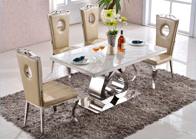 [Hot Item] Modern Dining Room Set Luxury Rectangle Glass Mirrored Dining  Table