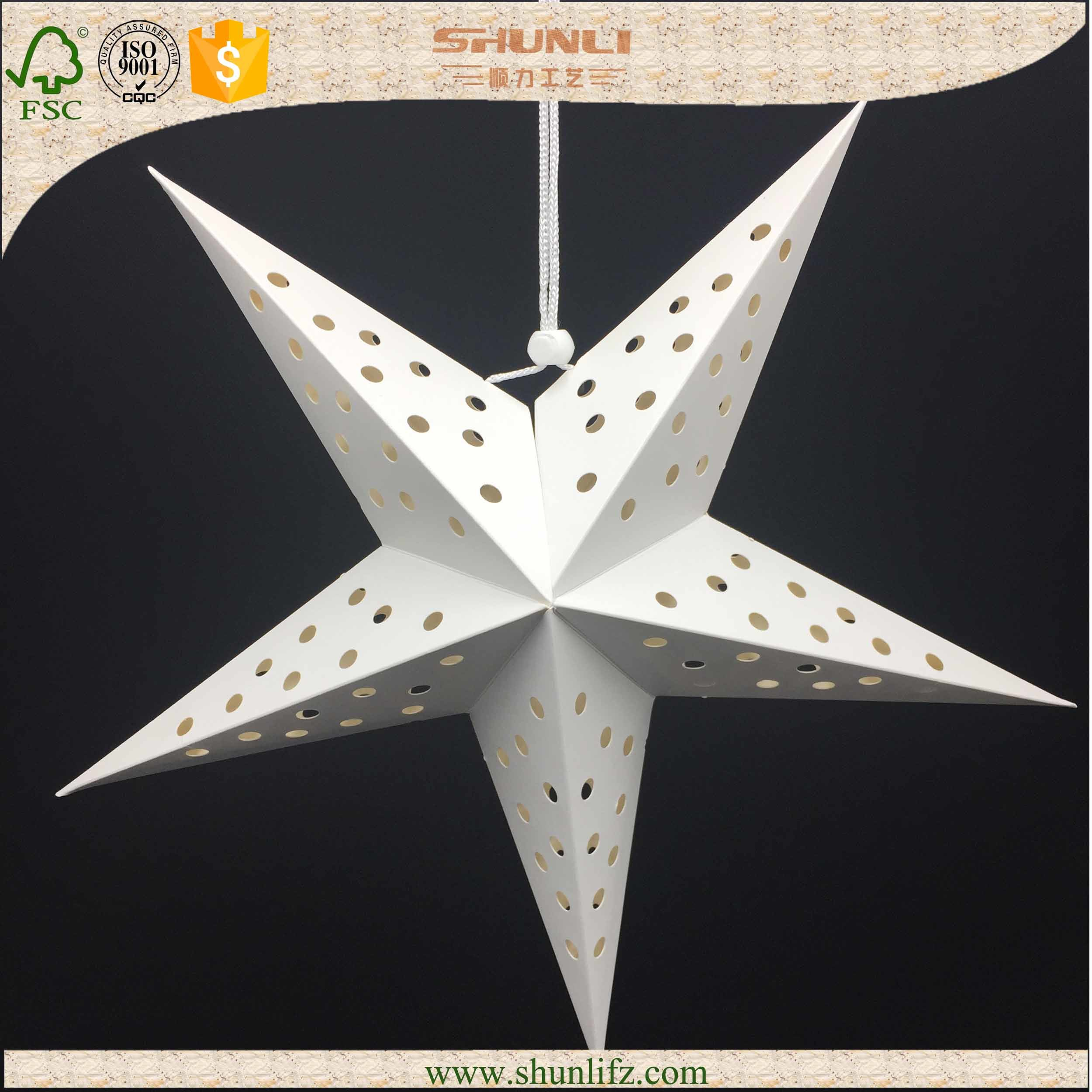 China Hanging White Paper Star Lantern Christmas Decoration Items Lighting