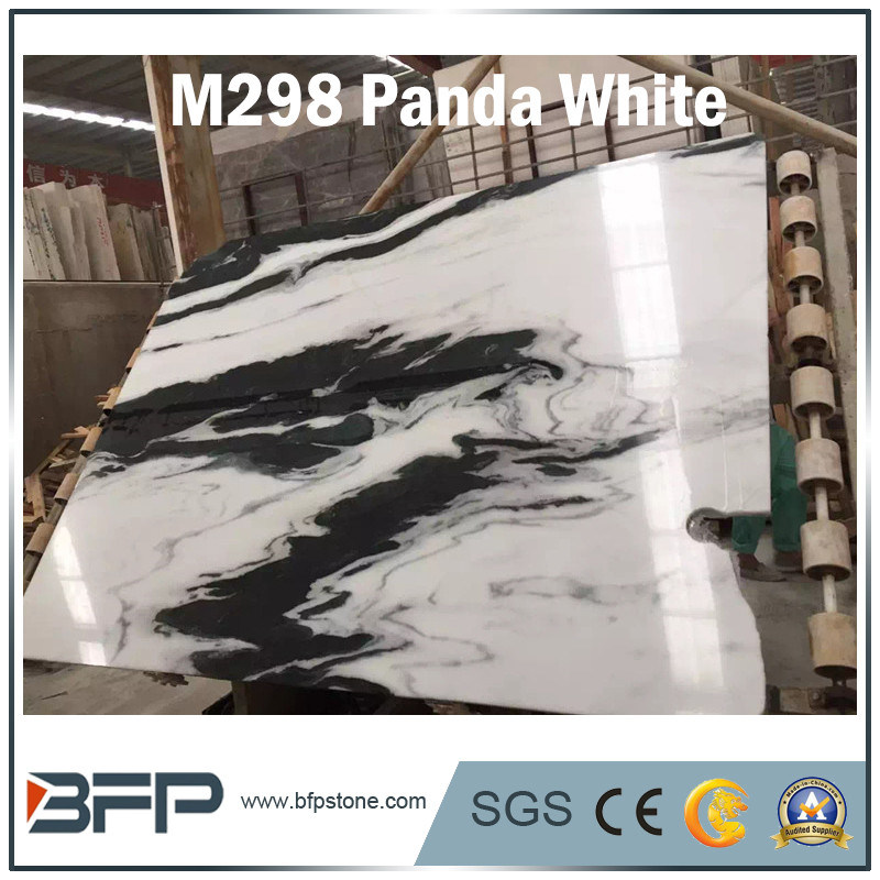 China New Panda White Luxury Marble Stone Slab Countertop Floor