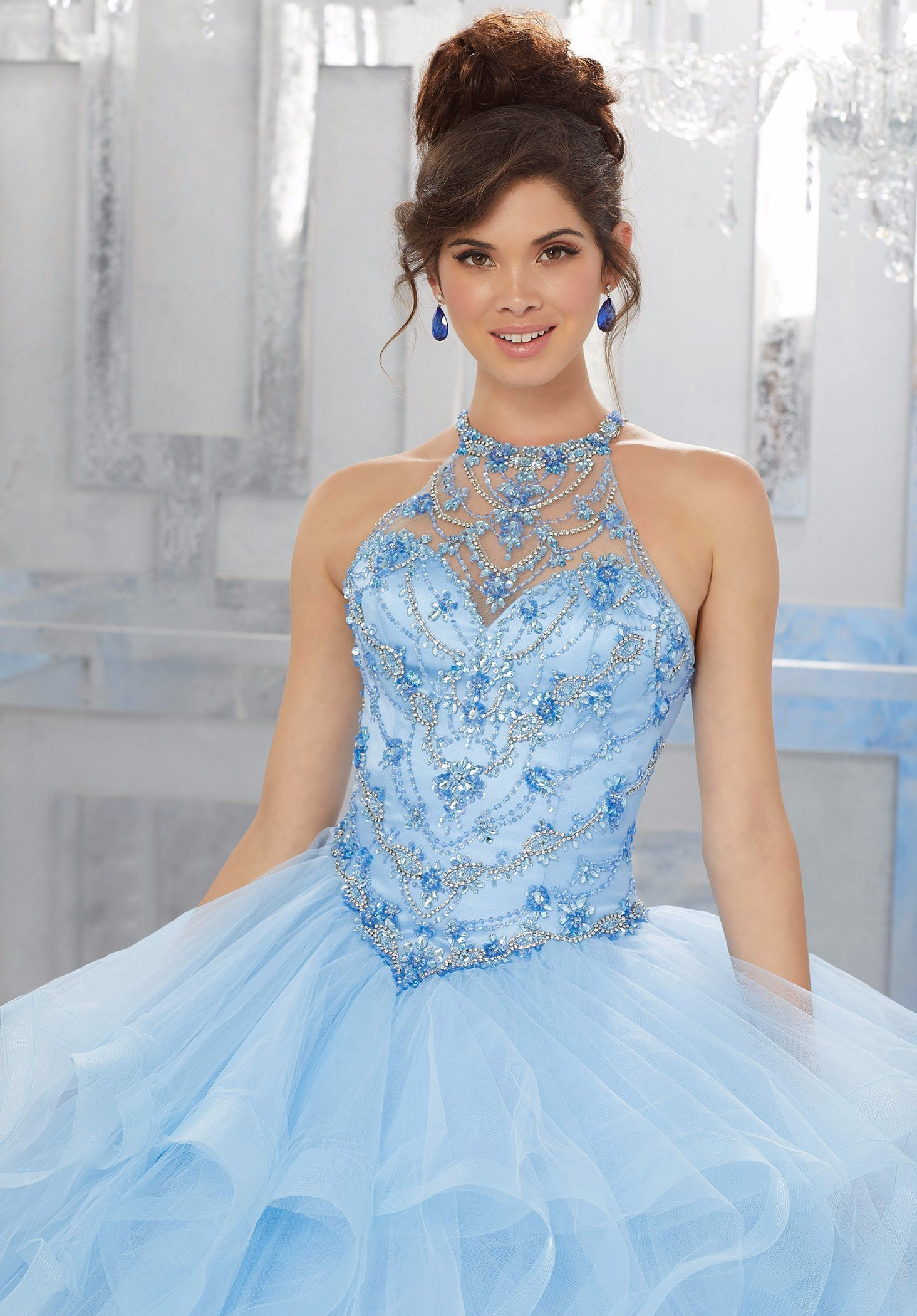 China Elegant Crystal Beaded Ballgown Ladies Party Dresses ...