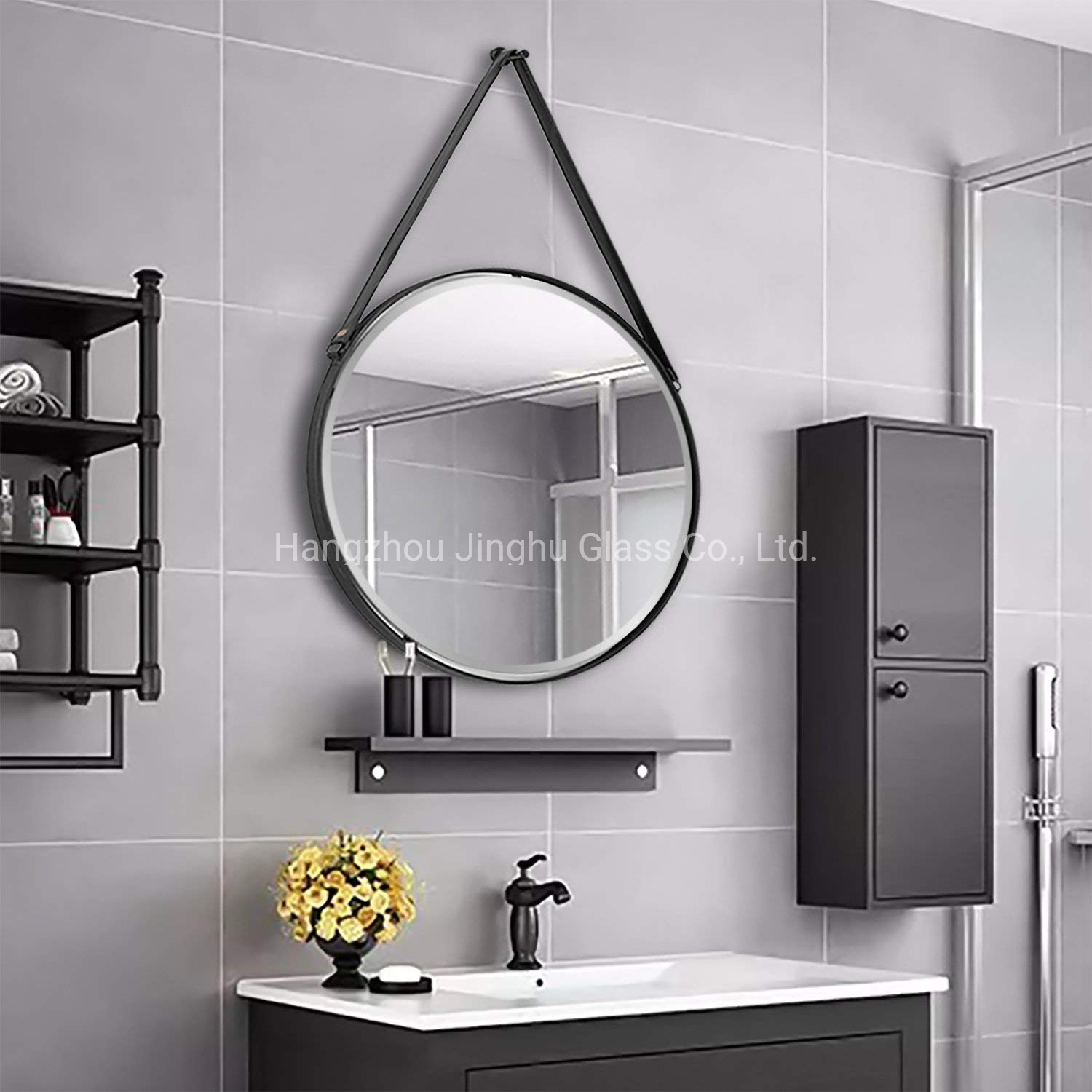 China Wall Mounted Black Color Frame Bathroom Vanity Mirror With Rope Or Leather Belt China Mirror Frame Mirror