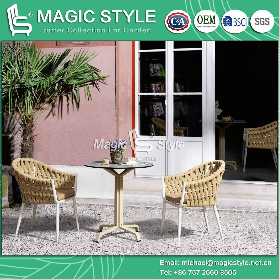 Coffee Stackable Chair Patio Furniture