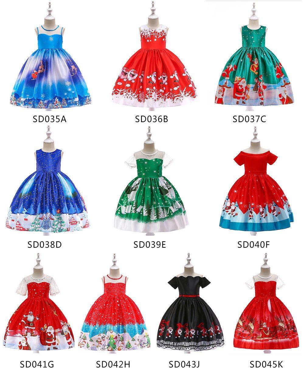 Children/'s Kids Girls Christmas Swing Dress Santa Gifts Candy Penguin Reindeer