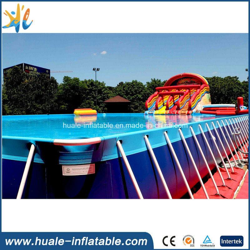 China Portable Giant Rectangular Metal Frame Pool Steel Plastic ...