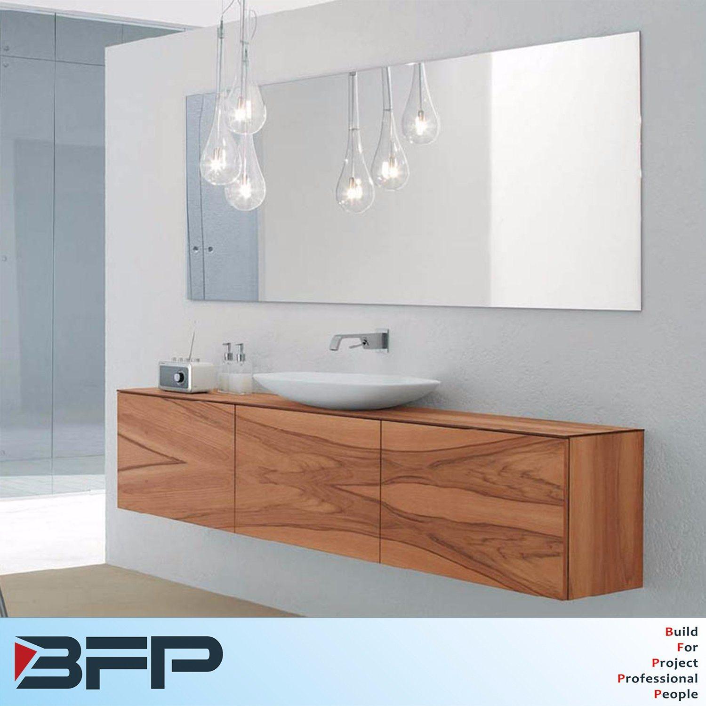 China Faced Woodgrain Flat Panel Bathroom Mirror Cabinet with Light ...