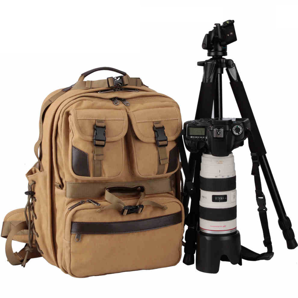 Rnwen Camera Backpack Digital Camera Bag Canvas Digital Camera Bag Outdoor Canvas Camera Bag Casual Shoulder Camera Bag Camera Cases Color : Khaki, Size : 30x18x28cm