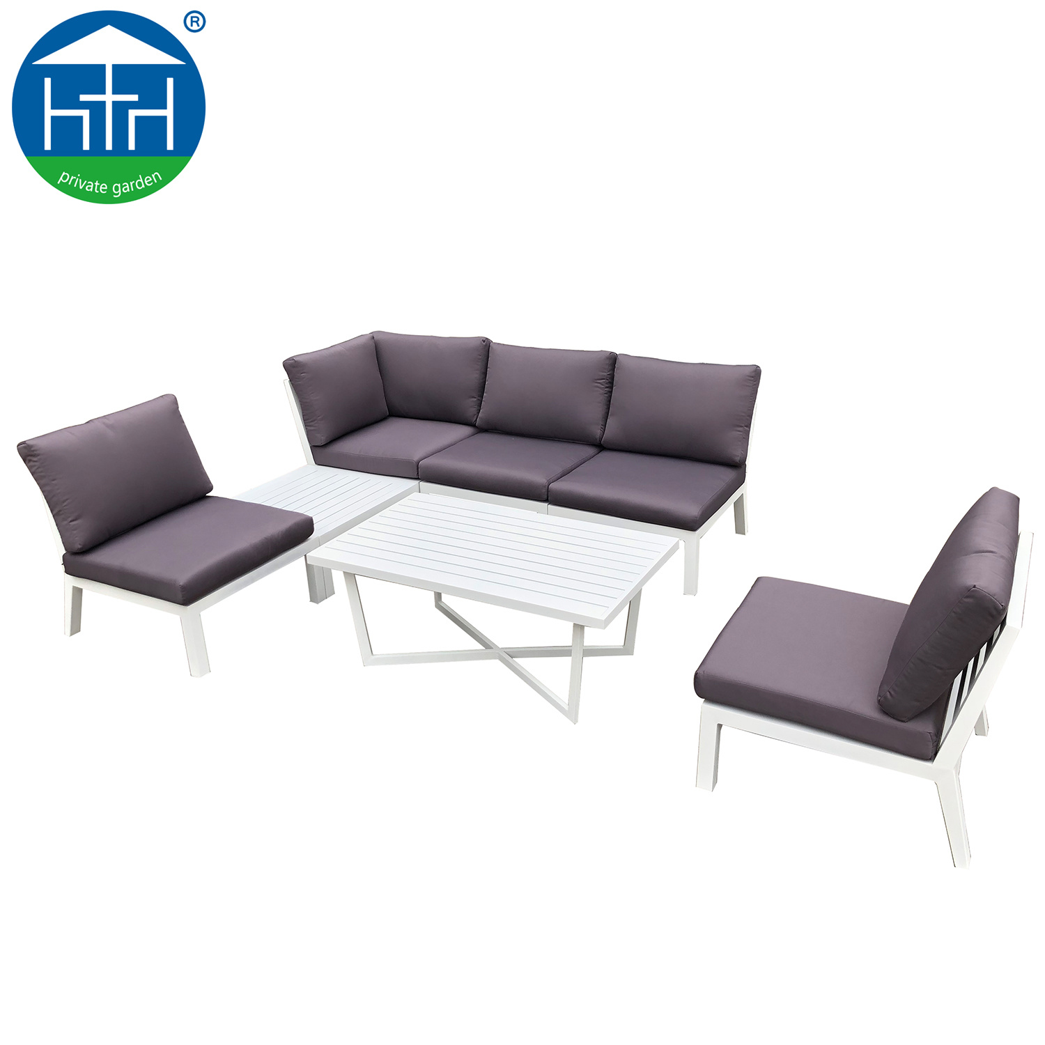 [Hot Item] White Garden Furniture Powder Coating Aluminum Frame Outdoor  Sectional Sofa Set